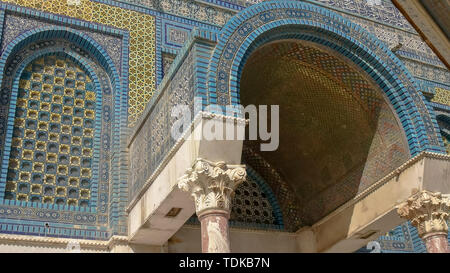 close up of an arched entrance to dome of the rock mosque in jerusalem, israel - Stock Photo