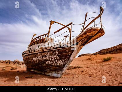 Strange Boat Stuck on Sand Hundres of KM From Nearest Water in Wadi Rum Jordan. - Stock Photo