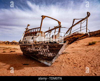 Strange Boat Stuck on Sand Hundres of KM From Nearest Water in Wadi Rum Jordan. - Stock Photo