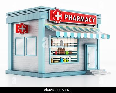 Pharmacy building isolated on white background. 3D illustration. - Stock Photo