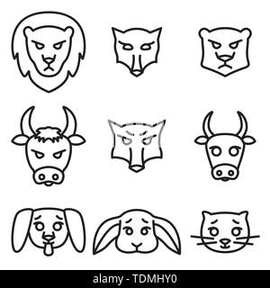 Set of icons or logos with domestic, wild and farm animals. Vector illustration in linear style. - Stock Photo
