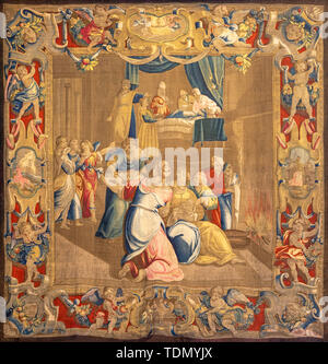 COMO, ITALY - MAY 8, 2015: The tapestry of Nativity of Virin Mary in the Temple in Cathedral (Duomo di Conmo). - Stock Photo