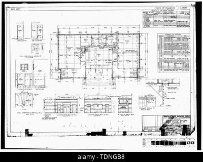 Photocopy of original construction drawing, dated 1934. (Original print in the possession of U.S. Army Corps of Engineers, Portland District, Portland, OR.) ADMINISTRATION BUILDING MAIN FLOOR PLAN. - Bonneville Project, Administration Building, South side of main entrance, Bonneville Project, Bonneville, Multnomah County, OR - Stock Photo