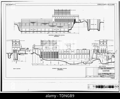 Photocopy of original construction drawing, dated 2 May 1935 (Original print in the possession of U.S. Army Corps of Engineers, Portland District Portland, OR.) (P-10-51) ELEVATIONS. - Bonneville Project, Powerhouse No.1, Spanning Bradford Slough, from Bradford Island, Bonneville, Multnomah County, OR - Stock Photo