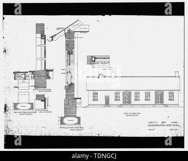 Photocopy of original construction drawing, dated April 1906 (original print in possession of Engineering Branch, Fort Myer, Arlington County, Virginia). Sheet No. 2 - 59 U, Quartermaster's workshops. - Fort Myer, Quartermaster Workshops, Arlington Boulevard and Second Street, Arlington, Arlington County, VA - Stock Photo
