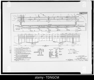 Photocopy of original construction drawing, dated April 1931, from original in possession of Federal Highway Administration Denver Colorado. SHEET 1- LAYOUT. - Rio Puerco Bridge, Mainline Road, spanning Rio Puerco, Holbrook, Navajo County, AZ - Stock Photo