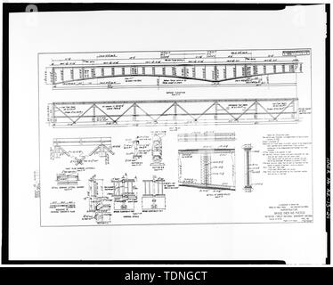 Photocopy of original construction drawing, dated April 1931, from original in possession of Federal Highway Administration Denver Colorado. SHEET 2- SUPERSTRUCTURE. - Rio Puerco Bridge, Mainline Road, spanning Rio Puerco, Holbrook, Navajo County, AZ - Stock Photo