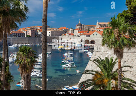 Morning view over the harbor and old town of Dubrovnik, Croatia - Stock Photo
