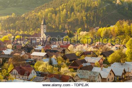 Beautiful spring view on small village Terchova at the sunset, Mala Fatra, Slovakia - Stock Photo