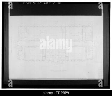Photographic copy of reproduced original construction drawing. FIRST FLOOR PLAN - Beverly Vista School, Administration Building, 200 South Elm Drive, Beverly Hills, Los Angeles County, CA - Stock Photo