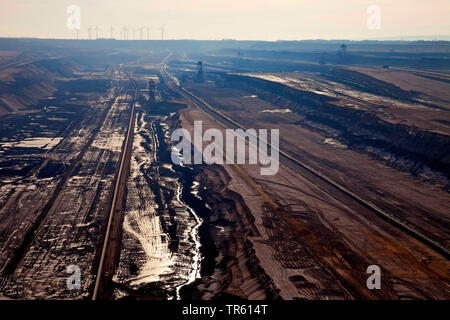 brown coal surface mining, Germany, North Rhine-Westphalia, Garzweiler, Juechen - Stock Photo