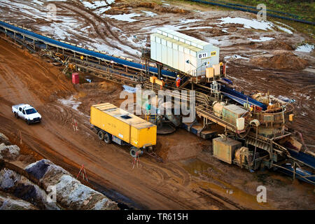 brown coal surface mining with conveyor system, Germany, North Rhine-Westphalia, Garzweiler, Juechen - Stock Photo