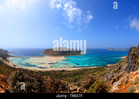 bay of Balos and Gramvousa lagoon, Greece, Crete, Chania, Kissamos - Stock Photo