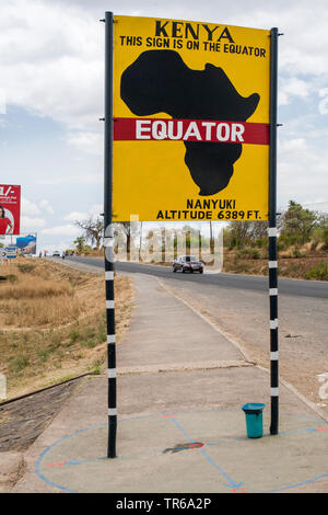 information sign 'Equator', Kenya, Nanyuki - Rift Valley - Stock Photo