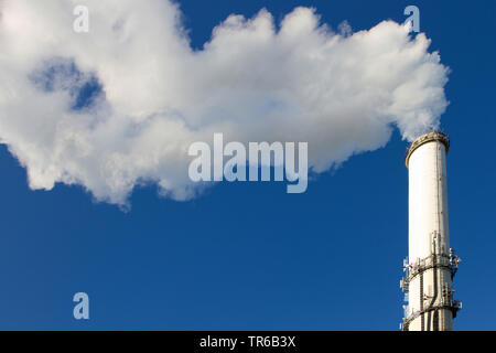 smoking chimney of an refuse destructors, Germany, Hesse - Stock Photo