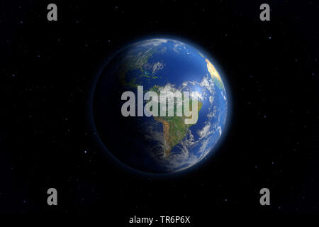 view of the the earth from deep space, South America, virtual worlds, computer graphic - Stock Photo