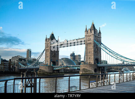 Tower Bridge is a road bridge over the River Thames in London and named after the nearby Tower of London. Opened in 1894. landmark of England. - Stock Photo