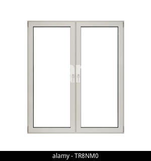 White plastic double door window isolated on white background, 3d rendering - Stock Photo