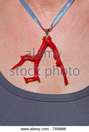 Neckless made of Red Corals (Corallium rubrum), coveted for jewellery, Marseillie, South France, France - Stock Photo