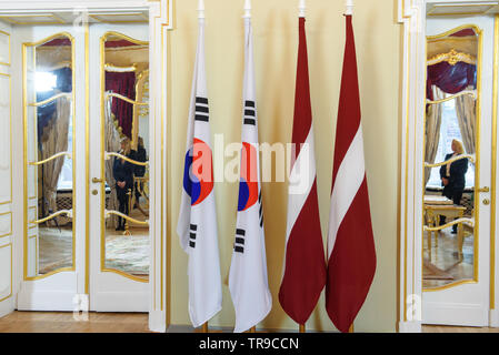 Riga, Latvia. 31st May 2019. Inara Murniece, Speaker of Parliament of Latvia meeting with Speaker of the National Assembly of the Republic of Korea Moon Hee-sang. Parliament of Latvia (Saeima). Credit: Gints Ivuskans/Alamy Live News - Stock Photo
