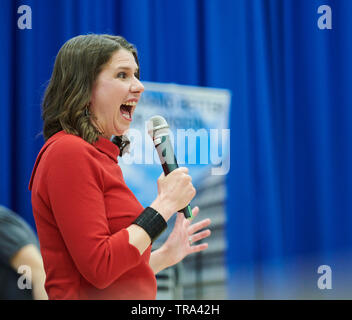 Highbury, London, UK - 31st May 2019.  Jo Swinson takes part in the first Liberal Democrat Party Leadership Election hustings in London. Credit: Thomas Bowles/Alamy Live News - Stock Photo