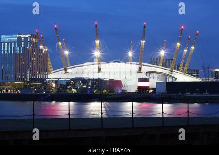 Millennium dome seen from far at night, London, England - Stock Photo
