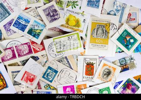 Used vintage stamp collection. Concept of philately hobby - Stock Photo
