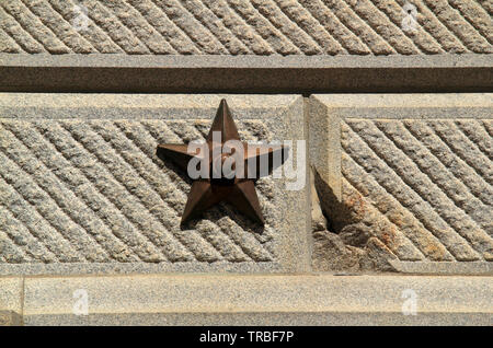 Stars along the walls of the South Carolina statehouse mark damage sustained by Union artillery during the American Civil War - Stock Photo