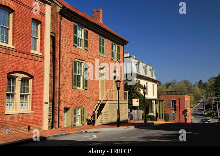 The Stonewall Jackson House, pictured here, is a prominent landmark and popular tourist attraction in the historic town of Lexington Virginia - Stock Photo