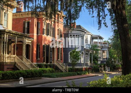 Historic  Homes on Forsyth Park, Savannah, Georgia, USA - Stock Photo