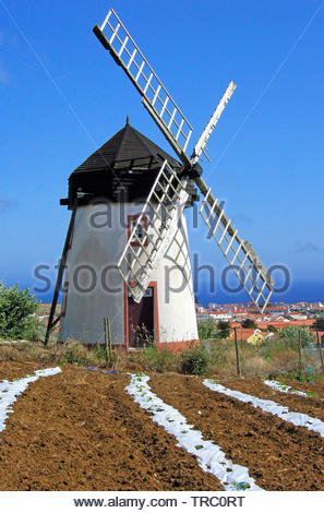 Windmill at Vila do Porto, Santa Maria island, Acores, Portugal - Stock Photo