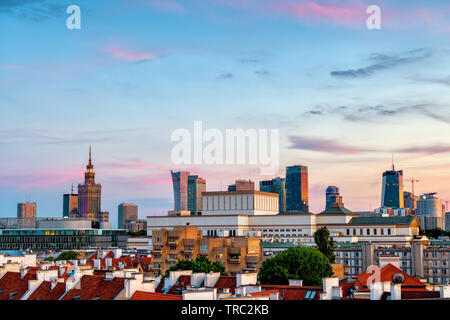 City of Warsaw cityscape and downtown skyline at sunset, capital of Poland. - Stock Photo