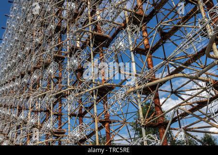 Ground view of Antenna of Soviet OTH-Radar Duga, known as Chernobyl-2,  Chernobyl Exclusion Zone, Ukraine - Stock Photo