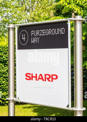 Sharp Sign, Furzeground Way, Stockley Park, Uxbridge, London, England, UK, GB. - Stock Photo