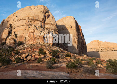 Navajo Dome is a large sandstone monolith located in Capital Reef National Park, Utah. - Stock Photo