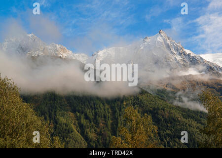 Scenic view of Aiguille du Midi, Chamonix Mont Blanc, Chamonix, French Alps, France - Stock Photo