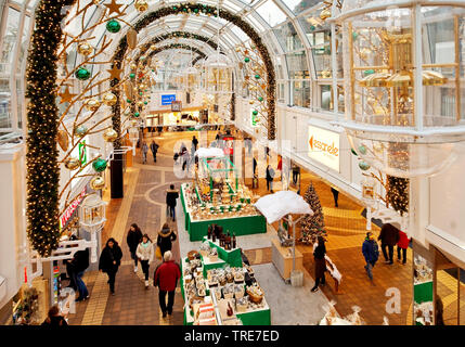 Christmas decoration in the shopping mall Allee-Center, Germany, North Rhine-Westphalia, Remscheid - Stock Photo