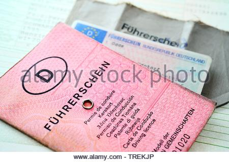 German and EU driving licenses - phased plan to renew driving license - Stock Photo