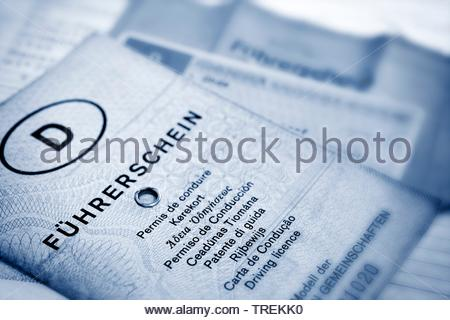 black and white photo - German and EU driving licenses - phased plan to renew driving license - Stock Photo