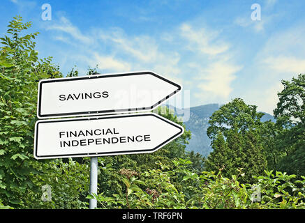 Road signs to savings and financial independence - Stock Photo