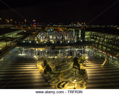 Adelaide, South Australia, September 28th, 2018: Adelaide Airport Courtyard by night from Atura Motel, Adelaide, South Australia - Stock Photo