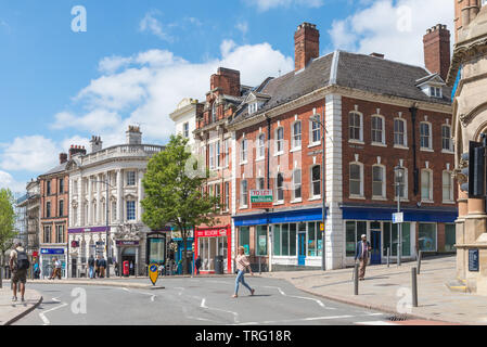 Queen Square in the centre of Wolverhampton, UK on a sunny day - Stock Photo