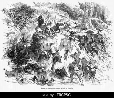 Defeat of the English by the Welsh at Berwin, Illustration from John Cassell's Illustrated History of England, Vol. I from the earliest period to the reign of Edward the Fourth, Cassell, Petter and Galpin, 1857 - Stock Photo