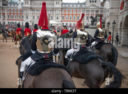Horse Guards Parade, London, UK. 8th June 2019. Soldiers of the 1st Battalion Grenadier Guards Troop their Colour in the presence of HM The Queen at the Queen's Birthday Parade. Image: Blues and Royals escort leave the parade ground after the event. Credit: Malcolm Park/Alamy Live News. - Stock Photo