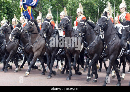 The Royal Life guards of the household Cavalry Charging down the Mall for trooping the colour 2019 - Stock Photo