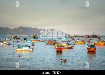 Nha Trang City, Khanh Hoa Province, Vietnam - May 16, 2019: several Fishing boats in the marina in Nha Trang City, Khanh Hoa Province, Vietnam - Stock Photo