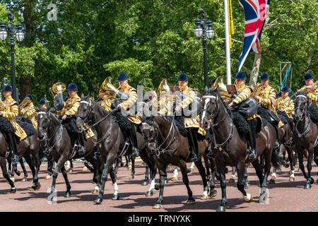 Mounted Band of The Household Cavalry on The Mall at The Trooping Of The Colour Ceremony ,London 2019 - Stock Photo