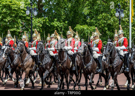 Life Guards of the Household Cavalry Mounted Regiment (HCMR) on The Mall at The Trooping Of The Colour ceremony ,London 2019 - Stock Photo
