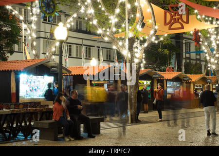 Carnival time along Avenida Arriaga, Funchal, Madeira 2019 - Stock Photo