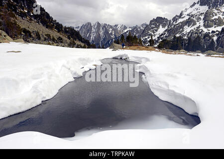 Valley in Sant Maurici National Park, Pyrenees Mountains, Catalunya (Catalonia), Spain - Stock Photo